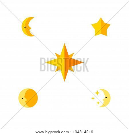 Flat Icon Bedtime Set Of Lunar, Moon, Asterisk And Other Vector Objects. Also Includes Star, Sky, Nighttime Elements.