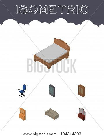 Isometric Design Set Of Bedstead, Couch, Drawer And Other Vector Objects. Also Includes Settee, Office, Locker Elements.