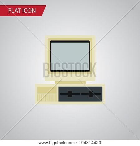 Isolated PC Flat Icon. Computer Vector Element Can Be Used For Computer, PC, Retro Design Concept.