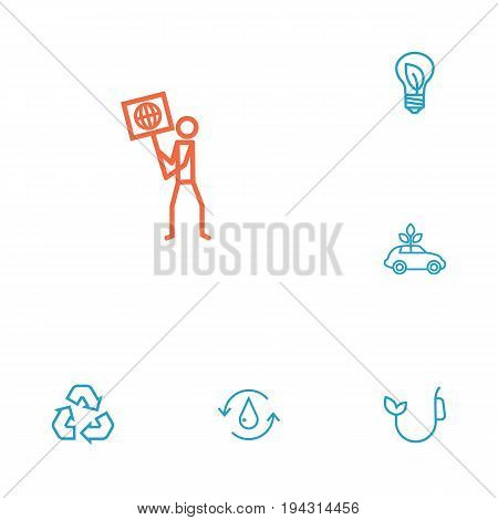 Set Of 6 Bio Outline Icons Set.Collection Of Water, Fuel, Recycling And Other Elements.
