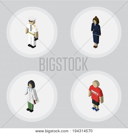 Isometric People Set Of Doctor, Seaman, Businesswoman And Other Vector Objects. Also Includes Medic, Businesswoman, Guy Elements.