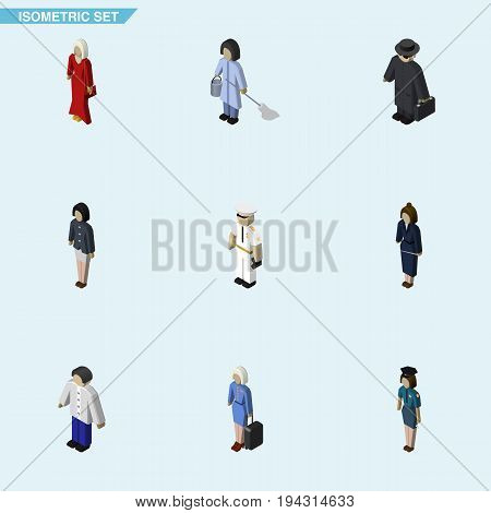 Isometric Human Set Of Policewoman, Female, Seaman And Other Vector Objects. Also Includes Female, Girl, Seaman Elements.