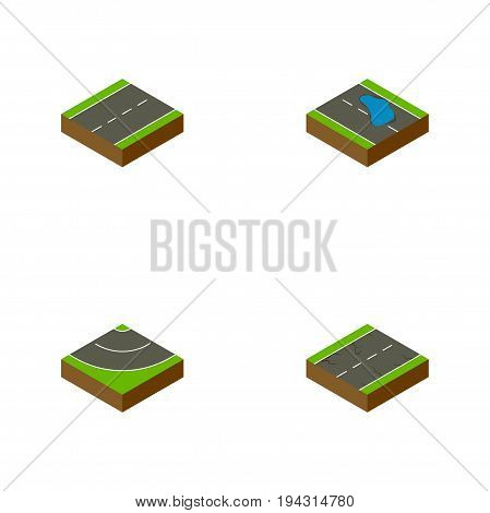 Isometric Road Set Of Driveway, Cracks, Plash And Other Vector Objects. Also Includes Single, Earthquake, Driveway Elements.