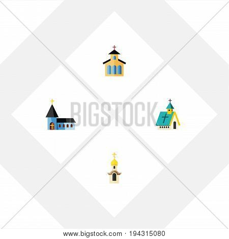 Flat Icon Christian Set Of Christian, Architecture, Catholic And Other Vector Objects. Also Includes Traditional, Christian, Catholic Elements.