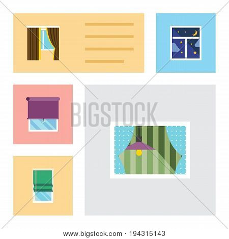 Flat Icon Glass Set Of Glass, Glazing, Curtain And Other Vector Objects. Also Includes Curtain, Window, Night Elements.