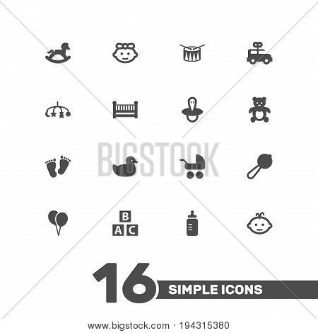 Set Of 16 Baby Icons Set.Collection Of Abc Block, Baby, Girl And Other Elements.