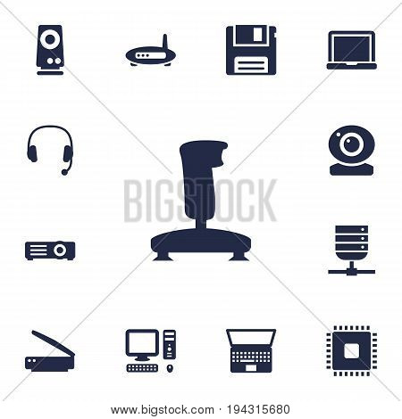 Set Of 13 Laptop Icons Set.Collection Of Show, Photocopy, Headset And Other Elements.