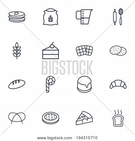 Set Of 16 Pastry Outline Icons Set.Collection Of Wheat, Measuring Cup, Pudding And Other Elements.