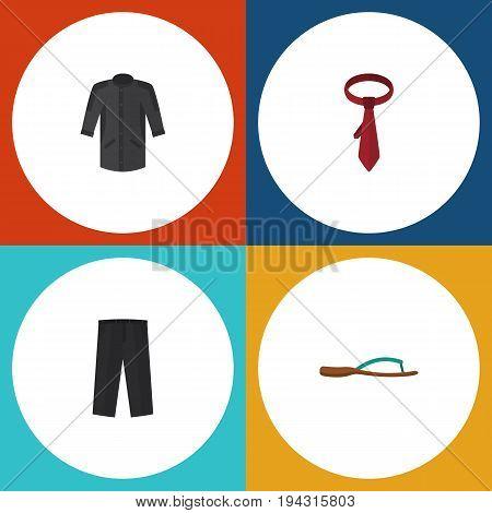 Flat Icon Clothes Set Of Pants, Beach Sandal, Cravat Vector Objects. Also Includes Kimono, Necktie, Leggings Elements.