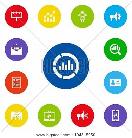 Set Of 13 Advertising Icons Set.Collection Of Statistics, Application, Id And Other Elements.
