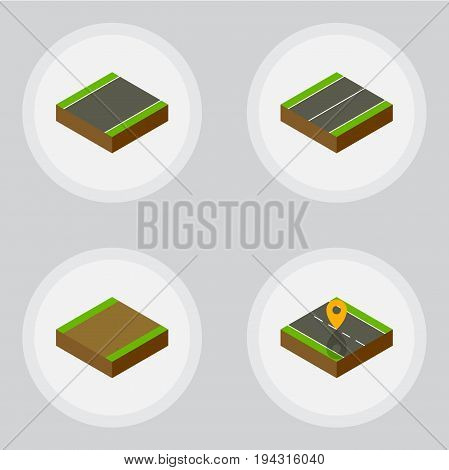 Isometric Way Set Of Footpath, Plane, Navigation And Other Vector Objects. Also Includes Road, Location, Plane Elements.
