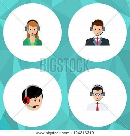 Flat Icon Telemarketing Set Of Hotline, Secretary, Help And Other Vector Objects. Also Includes Secretary, Help, Operator Elements.