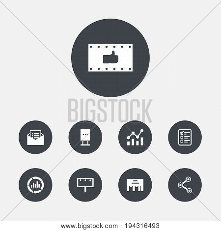 Set Of 9 Commercial Icons Set.Collection Of Customer Summary, Like, Share And Other Elements.