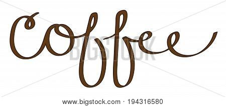 Coffee Cursive Calligraphy Typography Lettering on White Background