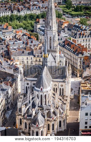 Aerial cityscape view on saint Similien cathedral in Nantes city during the sunny weather in France