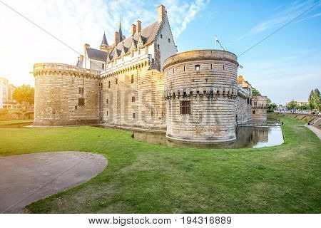 Sunset view on the castle of the Dukes of Brittany in Nantes city in France