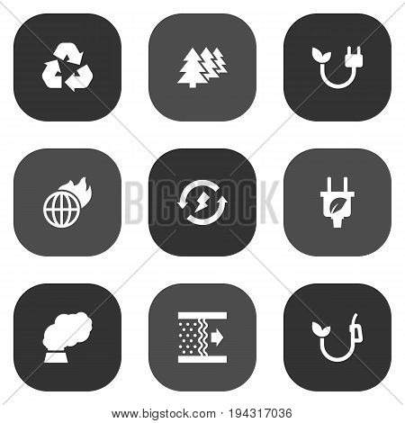 Set Of 9 Atmosphere Icons Set.Collection Of Reforestation, Cleaning, Contamination And Other Elements.