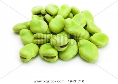 A heap of broad beans isolated on white