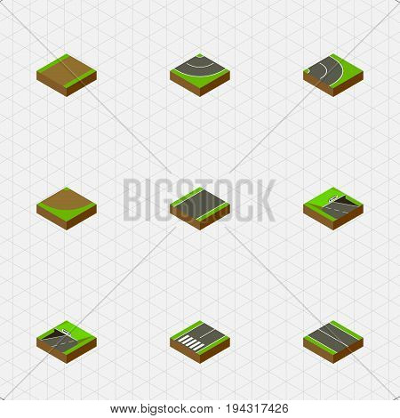 Isometric Road Set Of Unilateral, Turn, Road And Other Vector Objects. Also Includes Footpassenger, Asphalt, Flat Elements.