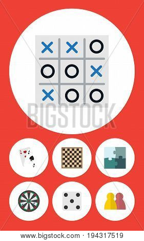 Flat Icon Play Set Of Ace, Jigsaw, People And Other Vector Objects. Also Includes Arrow, Gambling, Cards Elements.