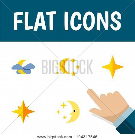 Flat Icon Night Set Of Star, Bedtime, Midnight And Other Vector Objects. Also Includes Moon, Nighttime, Sky Elements.