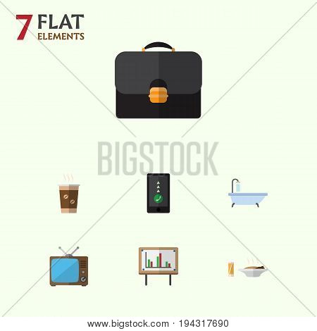 Flat Icon Oneday Set Of Briefcase, Cappuccino, Whiteboard And Other Vector Objects. Also Includes Cappuccino, Television, Suitcase Elements.