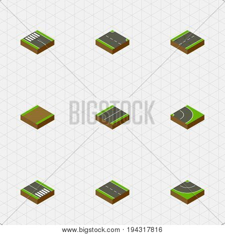 Isometric Road Set Of Strip, Pedestrian, Single-Lane And Other Vector Objects. Also Includes Highway, Asphalt, Plane Elements.