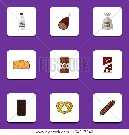 Flat Icon Food Set Of Bottle, Cookie, Ketchup And Other Vector Objects. Also Includes Bar, Ham, Holland Elements.