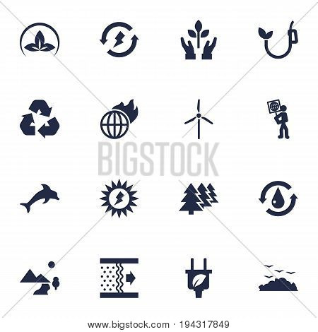 Set Of 16 Bio Icons Set.Collection Of Purification, Renewable, Fish And Other Elements.