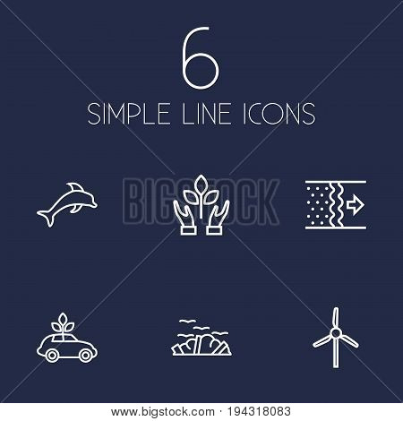 Set Of 6 Bio Outline Icons Set.Collection Of Air, Garbage, Dolphin And Other Elements.