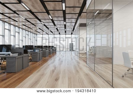 Wooden Floor Open Space Office, Front