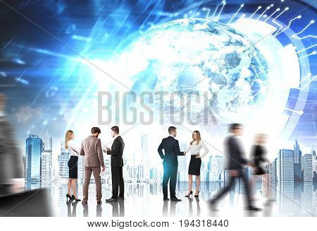 Groups of business people near a city with an HUD and an Earth hologram. Toned image.