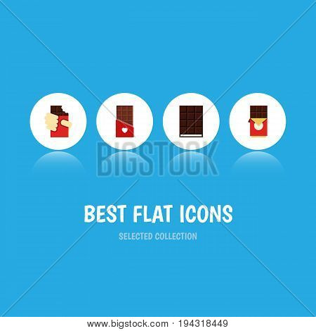 Flat Icon Cacao Set Of Dessert, Shaped Box, Chocolate And Other Vector Objects. Also Includes Wrapper, Chocolate, Dessert Elements.