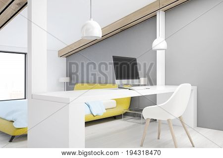 Gray attic bedroom with a home office gray walls a white wooden floor a table with a computer and a yellow bed. 3d rendering mock up