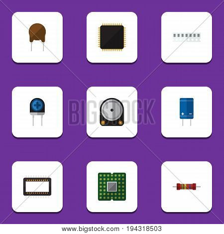 Flat Icon Appliance Set Of Transistor, Unit, Transducer And Other Vector Objects. Also Includes Set, Hdd, Microprocessor Elements.