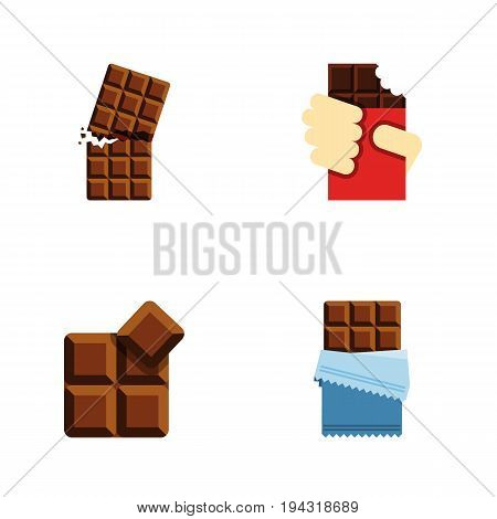 Flat Icon Cacao Set Of Cocoa, Wrapper, Shaped Box And Other Vector Objects. Also Includes Shaped, Dessert, Chocolate Elements.