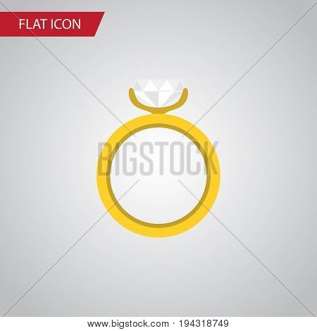 Isolated Ring Flat Icon. Engagement Vector Element Can Be Used For Ring, Wedding, Engagement Design Concept.