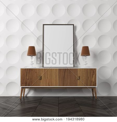 Empty room interior with white circle pattern walls and a dark wooden floor. There is a wooden closet with a framed vertical poster on it. 3d rendering mock up
