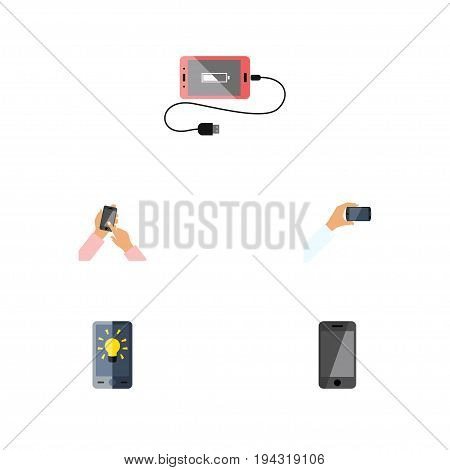 Flat Icon Smartphone Set Of Interactive Display, Accumulator, Telephone And Other Vector Objects. Also Includes Charge, Phone, Display Elements.