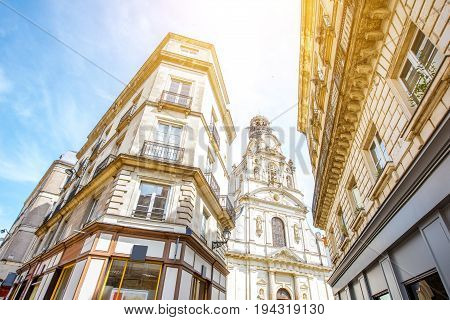 Street view from below on the beautiful buildings saint Croix church in Nantes city in France