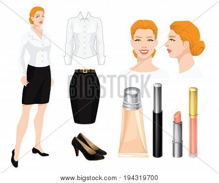Vector illustration of business woman or professor in formal black suit. Corporate dress code.
