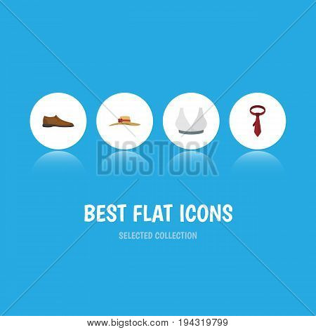 Flat Icon Clothes Set Of Male Footware, Elegant Headgear, Brasserie And Other Vector Objects. Also Includes Tie, Cravat, Woman Elements.