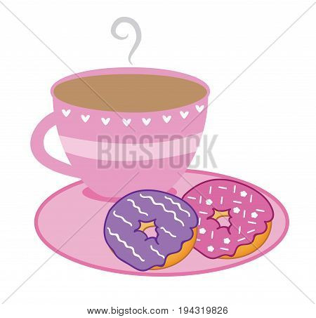 Hot Pink Coffee Cup and Pink Purple Donuts