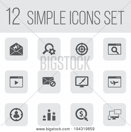 Set Of 12 Optimization Icons Set.Collection Of Airplane, Engine, Dartboard And Other Elements.