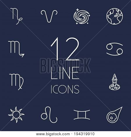 Set Of 12 Galaxy Outline Icons Set.Collection Of Leo, Virgo, Astrologer And Other Elements.