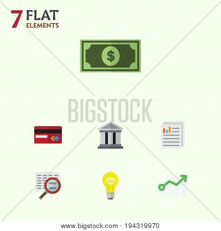 Flat Icon Finance Set Of Bubl, Growth, Greenback And Other Vector Objects. Also Includes Architecture, Dollar, File Elements.