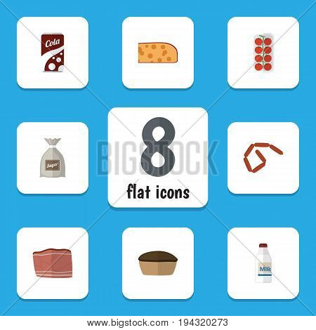 Flat Icon Food Set Of Fizzy Drink, Bratwurst, Tomato And Other Vector Objects. Also Includes Tart, Breakfast, Fizzy Elements.