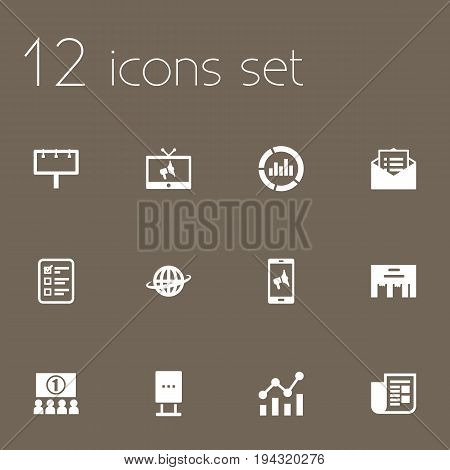 Set Of 12 Advertising Icons Set.Collection Of World, Inbox, Ads And Other Elements.