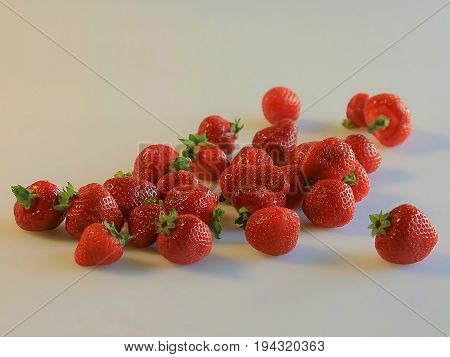 strawberry on summer time on the white background