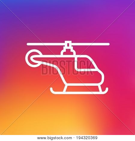 Isolated Copter Outline Symbol On Clean Background. Vector Helicopter Element In Trendy Style.